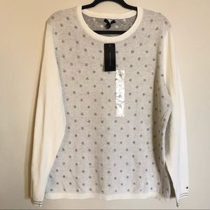 NWT Tommy Hilfiger White/Gray Sweater